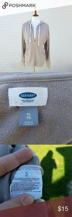 Old Navy Relaxed Full Zip Hoodie NWOT . Super soft & stretchy . White hood strings . Light Grey ish tan color .  #110504 Old Navy Tops Sweatshirts & Hoodies