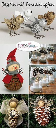Christmas decorations tinker with pine cones - wonderful DIY ba .- Weihnachtsdeko basteln mit Tannenzapfen – Wundervolle DIY Bastelideen Tinker Christmas decorations with pine cones – wonderful DIY craft ideas - Unique Christmas Trees, Diy Christmas Ornaments, Christmas Decorations To Make, Christmas Projects, Holiday Crafts, Christmas Time, Craft Decorations, Holiday Ideas, Christmas Crafts With Pinecones