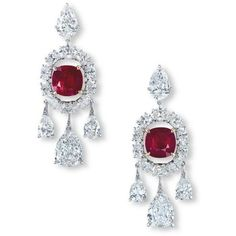 A MAGNIFICENT PAIR OF RUBY AND DIAMOND EAR PENDANTS, BY ETCETERA ❤ liked on Polyvore featuring jewelry, pendants, diamond pendant, pendant jewelry, etcetera, ruby jewelry and diamond jewellery