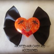 Halloween Collection one of a kind resin Heart filled with Halloween goodness skeleton hand, ants, blood black satin ribbon on single prong alligator clip Black and Orange ONLY ONE Horror Hair Accessories 100% Handmade  LIKE on Facebook: https://www.facebook.com/HauntedHairCandy  Inst...