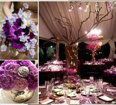 Add a touch of glamor to your #wedding with Sculptware's purple spandex #chair and #table covers.