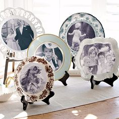 Photo Plate Display  This afternoon project is really a two-for-one -- it shows off favorite photos and a collection of decorative plates at once. Pull out family photos or your favorite vacation snapshots, and open your cabinets in search of china frames. Use a compass to mark the images with cut lines. Cut out the photos and adhere them to the plates with double-sided tape.