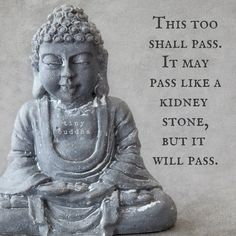 This too shall pass. It may pass like a kidney stone, but it will pass.