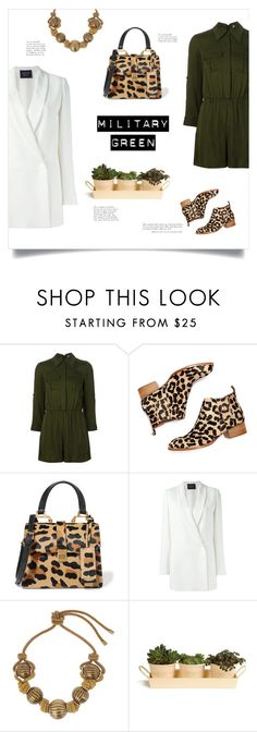 """Military green"" by pallascat ❤ liked on Polyvore featuring Alice + Olivia, Jeffrey Campbell, Miu Miu, Lanvin, Garden Trading, blazer, animalprint, Gogreen and militarygreen"