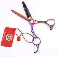 Purple Dragon Japanese Professional 5.5 inch 9CR Hair Thinning Scissors Left Hand Barber Hairdressing Shears Hair Makas