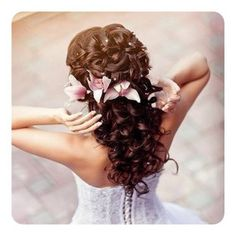 curled and pinned flowers, wedding hair
