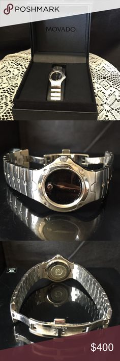 MOVADO sports edition watch ⌚️ This elegant timepiece is truly a classic from MOVADO. It looks great with work clothes, weekend wear and even at formal occasions. It's in good condition, except for some minor scratches on the band. (See picture.) Comes with a box and extra links, if you want to give it as a gift. No warranty. Needs batteries. Movado Accessories Watches