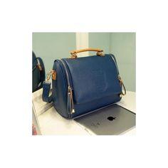 Corean Fashionable And Retro Style Blue PU Solid Zipper Shoulder Bags_Shoulder Bags_Handbags_Bags_Cheap Clothes,Cheap Shoes Online,Wholesale Shoes,Clothing On lovelywholesale.com - LovelyWholesale.com found on Polyvore