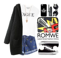 """""""Romwe"""" by oshint ❤ liked on Polyvore featuring Pamela Love, Converse, 3.1 Phillip Lim, Casetify, Clinique, cool and romwe"""
