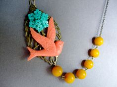 Coral Necklace,Bird Jewelry,Colorful Necklace,Bridesmaid Necklace $32