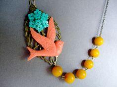 Coral Necklace,Bird Jewelry,Colorful Necklace,Bridesmaid Necklace $32