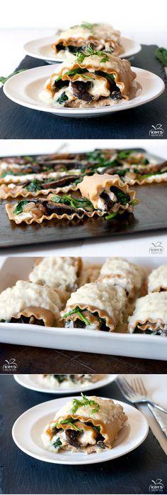 Spinach & Portobello Roll Ups with Creamy Cauliflower Sauce