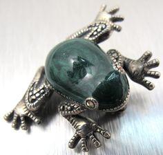 Sterling SIlver Marcasite Green Enamel Frog by TonettesTreasures