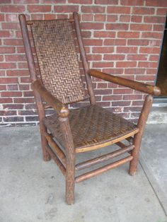 Old Hickory Arm Chair With Under Weaving Attrb Indiana
