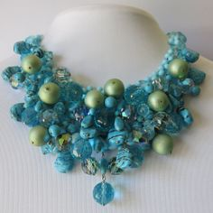Vintage Christian Dior Turquoise & Art Glass Acrylic Bib Dangle Haute Couture Necklace