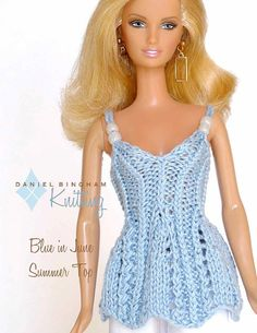 "Knitting pattern for 11 1/2"" doll (Barbie): Blue in June Summer Top"