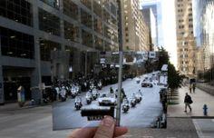 Mensen op Travis Street in Houston bekijken de stoet van Kennedy een dag voor de aanslag in Dallas / de straat dit jaar