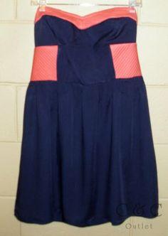 Bar III NEW Strapless Mini Dress Santa Barbara Navy Blue Coral Color-block LARGE
