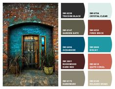 tricorn black // garden gate // oceanside // rookwood dark red // hardware // crystal clear // fired brick // biscay // quite coral // relaxed khaki