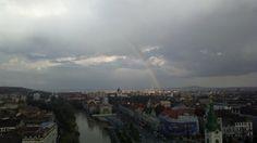 Curcubeu și nori din turnul primăriei Oradea