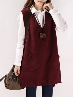 Spring and Autumn new V-neck vest knit bottoming shirt Korean version the long section sleeveless sweater Cardigan Sweaters For Women, Casual Sweaters, Long Sweaters, Long Sleeve Sweater, Casual Tops, Knit Vest Pattern, Sweater Fashion, Fashion Boots, Crochet