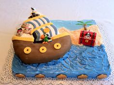 Jake and the Never Land Pirates cake - regular Wilton Pirate Ship cake pan customized to look like Bucky and the whole gang, Jake, Izzy, Cubby & Scully, all molded from fondant.