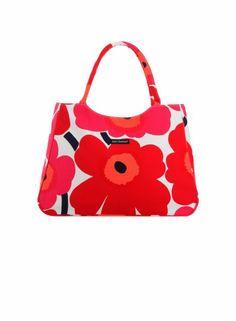 Papaver-laukku (valkoinen, punainen) |Laukut & asusteet, Laukut, Kassit | Marimekko