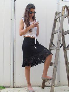 Black Lace Crochet Skirt Hand Knit Womens Skirt by ettygeller, $69.00