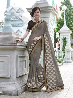 Gray Jacquard & Georgette Saree ,Indian Dresses