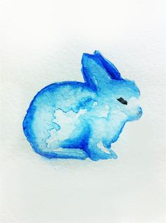 rabbit Art Print by Carrie Booth Bunny Tattoos, Rabbit Tattoos, Watercolor Animals, Watercolor Paintings, Watercolor Ideas, Watercolors, Aquarell Tattoo, Animal Art Prints, Blue Bunny