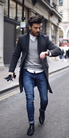 Casual Coat Outfit-Ideen für Männer Casual Coat Outfit Ideas for Men - Mode Outfits, Casual Outfits, Fashion Outfits, Men's Fashion Sneakers, Fashionable Outfits, Fashion Boots, Mode Masculine, Fashion Mode, Mens Fashion