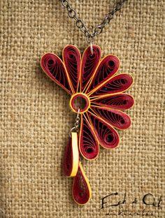 Colore rosso carta quilled ecologico orecchino e di EchOchCrafts