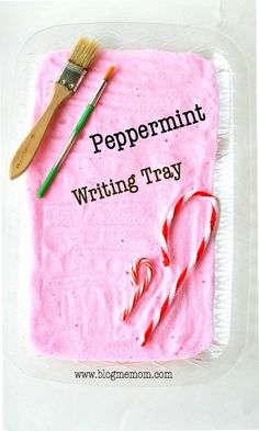 Scented Peppermint Writing Tray Activity for kids with an easy recipe to make the base