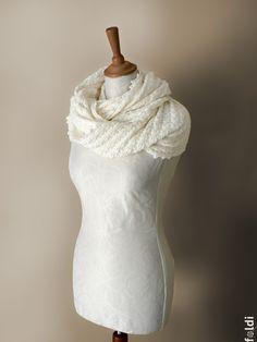 Knitted merino wool möbius scarf, cowl, wrap in cream colour. $65.00, via Etsy.