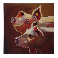 Pigs Painting Print on Canvas (Set of 4)