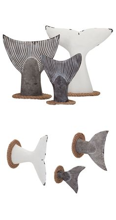 Don't let your style flounder with a bare wall or table. This set of three fish tails is sure to make a splash. Rope detailing and a weathered finish add to their aquatic appeal.  Find the Mermaid Wall Decorations - Set of 3, as seen in the A Road Trip Up the California Coast Collection at http://dotandbo.com/collections/a-road-trip-up-the-california-coast?utm_source=pinterest&utm_medium=organic&db_sku=122598
