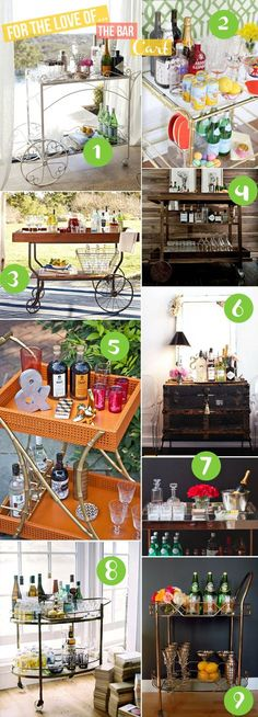 9 Pretty Bar Cart Pictures! Inspiration for the perfect bar cart area in your house!