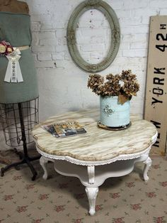 Vintage Painted Cottage Chic Shabby White French Provincial Coffee Table With…