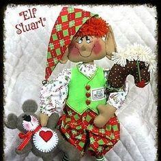 Primitive e-pattern LARGE ELF SIMON 26 | Etsy Elf Me, The Elf, Elf On The Shelf, Christmas Elf Doll, Christmas Ornaments, Stick Horses, Selling On Ebay, Digital Pattern, Elves