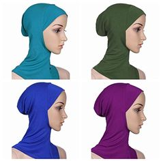 BaiTe 4pcs Lightweight Elastic Hijab Caps Full Cover Hijab Bonnet Islamic Scarf for Women Turban * Want additional info? Click on the image.