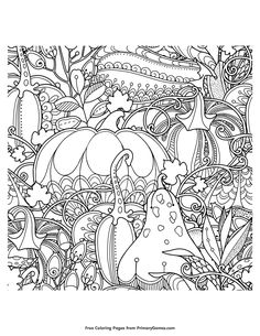 Fall Coloring Page Pumpkin and Leaves Free printable Adult