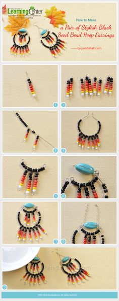 How to Make a Pair of Stylish Black Seed Bead Hoop Earrings from LC.Pandahall.com