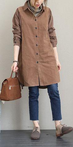 d0aca2b676 Women Vintage Quilted Medium Length Shirt Casual Blouse Q1665