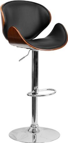 Beautiful and elegant describe this bentwood style barstool with a comfortably padded seat. This stool is complemented with a comfortable vinyl pad...