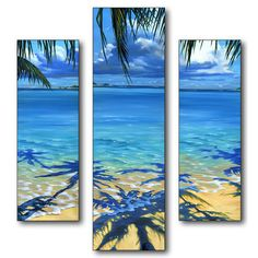 """Stupell Industries Home Décor Palm Tree Shadows Triptych 3 Piece Painting Print Set  overall size  18""""H x 20""""W x 0.5"""" deep.  weight 6 lbs   35.68"""