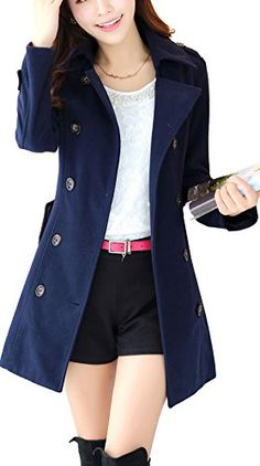 e923e4ff56 S S Women s Winter Double Breasted Wool Long Trench Coat Pea Coat Jacket  With Pockets