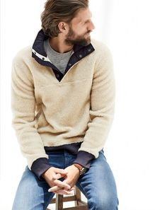 NOV '14 Style Guide: J.Crew men's grizzly fleece pullover.