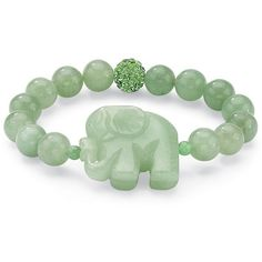 "Palm Beach Jewelry PalmBeach Green Agate Elephant and Crystal Beaded Stretch Bracelet 8"" Naturalist featuring polyvore, women's fashion, jewelry, bracelets, green, bead charms, charm jewelry, palm jewelry, beach jewelry and elephant jewelry"