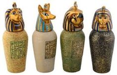 See this selection of gorgeous Egyptian Canopic Jars for sale and relive some of the rituals that the ancient peoples of Egypt used during the mummification process. Miniature Figurines, Collectible Figurines, Statues, Canopic Jars, Jars For Sale, Jar Art, Historical Artifacts, Egyptian Art, Egyptian Mummies