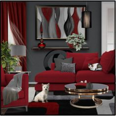 2/5 RED + GREY Living Room